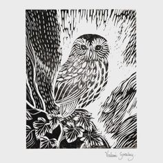owl in the ivy screen print by valerie greeley
