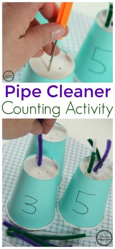 Cleaner Counting Activity for Kids Pipe Cleaner Counting Activity for Kids. Great number and fine motor activity in one.Pipe Cleaner Counting Activity for Kids. Great number and fine motor activity in one. Cognitive Activities, Motor Skills Activities, Preschool Learning Activities, Preschool At Home, Toddler Learning, Educational Activities, Fun Learning, Preschool Activities, Toddler Counting