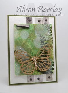 Gothdove Designs - Alison Barclay - Stampin' Up! Australia - Stampin' Up! Butterfly Basics stamp set with a bokeh background and a butterfly die cut out of Kraft card stock. Created for Create with Connie and Mary Thursday Sketch challenge. #stampinup #stampinupaustralia #butterflybasics #butterfly #bokeh #gothdovedesigns