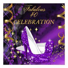 Fabulous 40 Woman's Purple Gold Heels Birthday Custom Invite.  $2.45