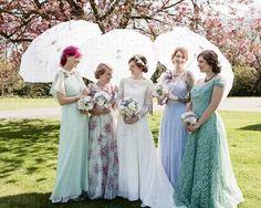 offbeat retro lace bridesmaid dresses
