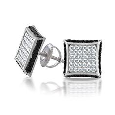Bling Jewelry Black and White Screw Back Earrings Micropave CZ raised Square Studs Mens Gold Jewelry, Bling Jewelry, Skull Jewelry, Jewellery, Brass Jewelry, Leather Jewelry, Jewelry Necklaces, Black And White Earrings, Women's Jewelry Sets