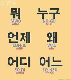 왜 is more commonly used than Mwo (sorry it won't let me type the hangeul in my computer for what) in Korea. Korean Words Learning, Korean Language Learning, Learn A New Language, Korean Phrases, Korean Quotes, Korean Verbs, How To Speak Korean, Learn Korean, Learn Hangul