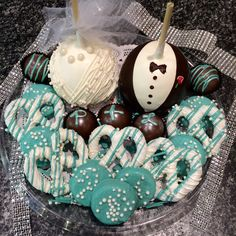 Tiffany themed chocolate platter for a bridal shower!