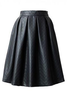 Diamond Pleated Skirt in Black