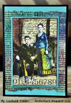 Darkroom Door 'Henry & Harriet' Collage Stamp DDCS007. Card created by Liesbeth Fidder.