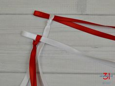 Creating two ribbon pairs with red and white ribbon. Ribbon Lei, Ribbon Braids, Gift Ribbon, Ribbons, Wedding Braids, Braided Hairstyles For Wedding, Prom Hairstyles, Four Strand Braids, Side Braids