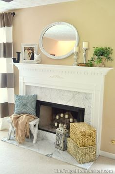 Traditional decorated mantel