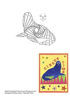 Sea Lion Iris Folding Pattern on Craftsuprint designed by Margaret Jones - Make this cute sea lion on a child's card, in bright colours. - Now available for download!