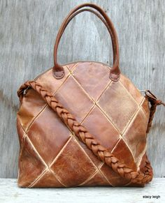 Leather Bowler Handbag in Honey Brown Distressed by stacyleigh, $315.00