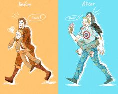 70 years later! by harmonia3784.deviantart.com on @deviantART. The fact that Bucky is biting Steve's head is just hilarious!