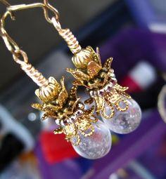 Pineapple earrings with pineapple quartz $14.00 Handmade jewelry