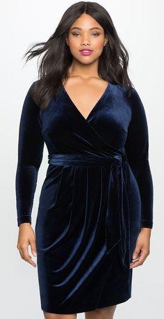 Plus Size Velvet Wrap Dress