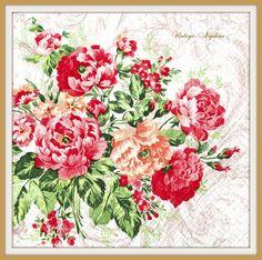 SALE *** Paper napkins for DECOUPAGE - Vintage PINK Roses #398 by VintageNapkins on Etsy