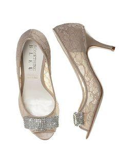 f1a5ab85ef34 Coco Nude Lace Bridal Peep Toe Pump Bridal Heels