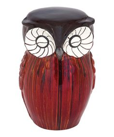 Look what I found on #zulily! Red Ceramic Owl Stool #zulilyfinds
