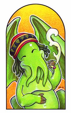 yes, i'd smoke you up, Rasta Cthulu. by ursulav on deviantart.com