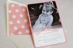 Pink Ballerina Photo Birthday Invitation - Satin Ribbon Bow, Envelope Liner, Photo Invite, Tulle, Multi-Layered Invitation. $38.00, via Etsy.