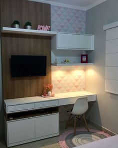 Visit the image link for more details. √ Most Popular Study Table Designs and Children's Chairs Today. Grey Bedroom Furniture, Bedroom Furniture Desks, Girl Bedroom Decor, Home Office Layouts, Home, Study Table Designs, Bedroom Design, Bedroom Layouts, Home Decor