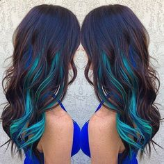 Balayage Dip Dye 8A Remy Human Hair Clip In Colourful Flashes Hair Extensions Ombre  Dip Dye Brown Colour Turquoise Green
