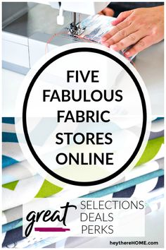 Be confident when buying fabric online! Get this list of five fabulous fabric stores @ heytherehome.com Easy Sewing Projects, Sewing Projects For Beginners, Sewing Hacks, Diy Projects, Sewing Ideas, Sewing Crafts, Sewing Tips, Quilting Projects, Sewing Tutorials