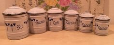 Vintage-French-Enamel-Canister-Set-Six-Pieces-White-with-Blue-Deco-Design