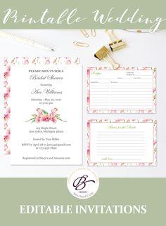 Bridal Shower Invitation Set Recipe Card Advice  Thank You Card