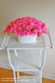 """62 Paper Roses Arrangement  in Pink http://stjudescreations.blogspot.com/2014/08/62-paper-roses-arrangement-in-pink.html Author """"how to make 100 Paper Flowers""""  #paperflowers"""
