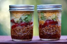 Quick and easy taco salad in a jar makes a healthy, filling lunch on the go. Topped with an creamy salsa based dressing, it's savory and satisfying.