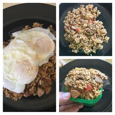 Jambalaya with fried eggs! 1 green container measured is equal to 1 - red, 1 - green, 1- yellow. Plus 1 - red for 2 eggs!  www.beachbodycoach.com/wyrobar1