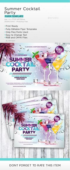 Summer Cocktail Party #summer party #design  • Download here → https://graphicriver.net/item/summer-cocktail-party/20224960?ref=pxcr