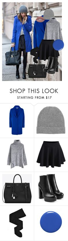 """""""Blue coat"""" by dubaileila ❤ liked on Polyvore featuring Fenn Wright Manson, Madeleine Thompson, Chicwish, WithChic, Yves Saint Laurent, Hogan, HYD and Dolce&Gabbana"""