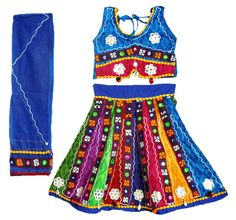 Embroidered Multicolor Ghagra, Choli with Mirror Work (Cotton Cloth)
