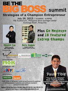 Be the Big Boss Summit: Win FREE Tickets Worth P2,500 Each   Livelihood Philippines Free Tickets, The Big Boss, Philippines, Gadgets, Apps, Author, Events, Friends, Business