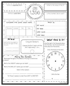 Math Writing- number of the day upper grades.like changing number order to write biggest and smallest number Math Strategies, Math Resources, Math Activities, Multiplication Strategies, Math Games, Fractions, Math Meeting, Daily Math, Daily 3