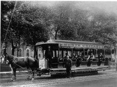 "North Chicago Horse-Car 880 North Chicago Street Railway car 880 is led by two horses in this photo on Clark Street. The sign on the top, front of the car says ""Fullerton Av and Halsted St. North Chicago, Chicago Street, Chicago Area, Chicago Illinois, Chicago City, Old Pictures, Old Photos, Vintage Photos, Chicago Transit Authority"