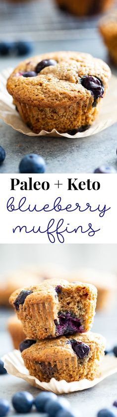 These keto blueberry muffins have a crisp top and a soft fluffy inside! They have a sweet nutty flavor thanks to almond butter and almond flour and are loaded with plenty of juicy sweet blueberries. Theyre paleo gluten-free dairy-free and low carb. Paleo Blueberry Muffins, Baking Muffins, Blue Berry Muffins, Blueberries Muffins, Vegan Muffins, Paleo Muffin Recipes, Brunch Recipes, Keto Recipes, Bariatric Recipes