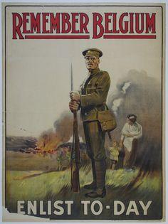 Remember Belgium - United Kingdom c. 1915 30 x 40 in (75 x 100 cm) $700 #WW1 #WWI #war #enlist #vintageposter