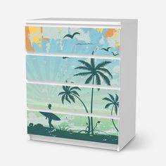 Möbeltattoos - Möbelfolie IKEA Malm Kommode - Beach Surfer - ein Designerstück von creatisto bei DaWanda