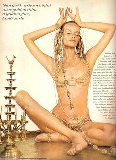 Veruschka in gold chain bikini