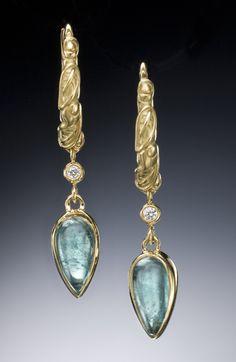 Micro-Pave White Topaz 14Kt Gold Filled Gold Aqua Chalcedony Teardrop Earrings Reverse Teardrop Earrings