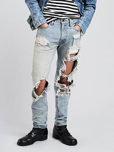 Levi's Levi's® X Rolling Stone Slim Straight Jeans Ripped Boyfriend Jeans, Torn Jeans, Nudie Jeans, Destroyed Jeans, Mens Sale, Slim Man, Mens Fashion, Casual, Outfits