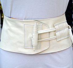 Creamy White Leather Corset Obi Belt with Toggle on Etsy, $150.00