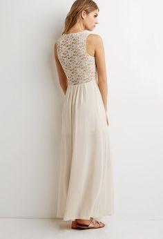 Lace-Paneled Illusion Maxi Dress | LOVE21 - 2000099919