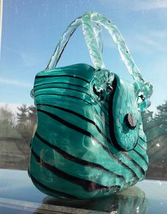 Blue Black Glass Purse Vase | eBay
