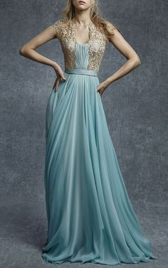 Gorgeous, embroidered illusion silk chiffon gown in serenity blue by Reem Acra