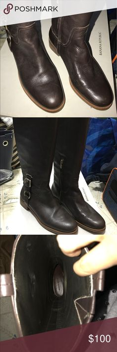 Banana Republic Knee high tall fall/winter boots Banana republic knee high tall brown color fall/winter leather  boots. Kept in box, in excellent condition. Size 6.5 Banana Republic Shoes Winter & Rain Boots