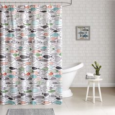HipStyle Madfish Cotton Printed Shower Curtain