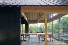 japanese design studio mori no terrace has created a camping café called 'terrace of the forest' using locally sourced material in osaka, japan. Black House Exterior, Interior And Exterior, Interior Design, Gable House, Rural House, Terrace Design, Japanese Design, Campsite, Osaka