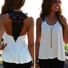 Lace Patchwork Hollow Backless Sleeveless Scoop Vest